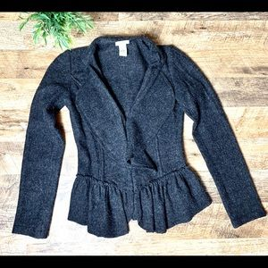 Cache Charcoal Gray Ruffle Wool Jacket Size XS